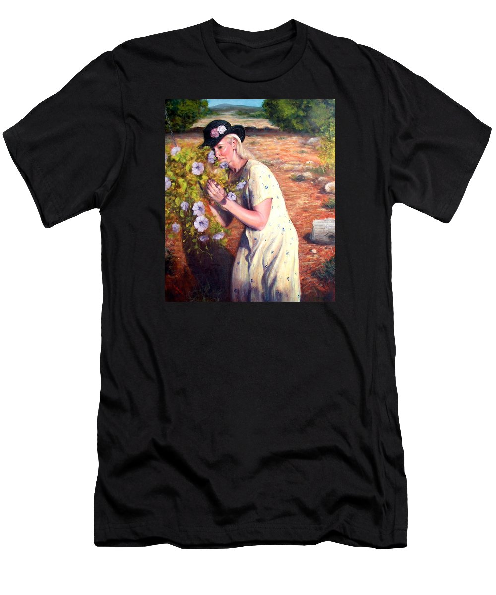Realism Men's T-Shirt (Athletic Fit) featuring the painting Santa Fe Garden 2  by Donelli DiMaria