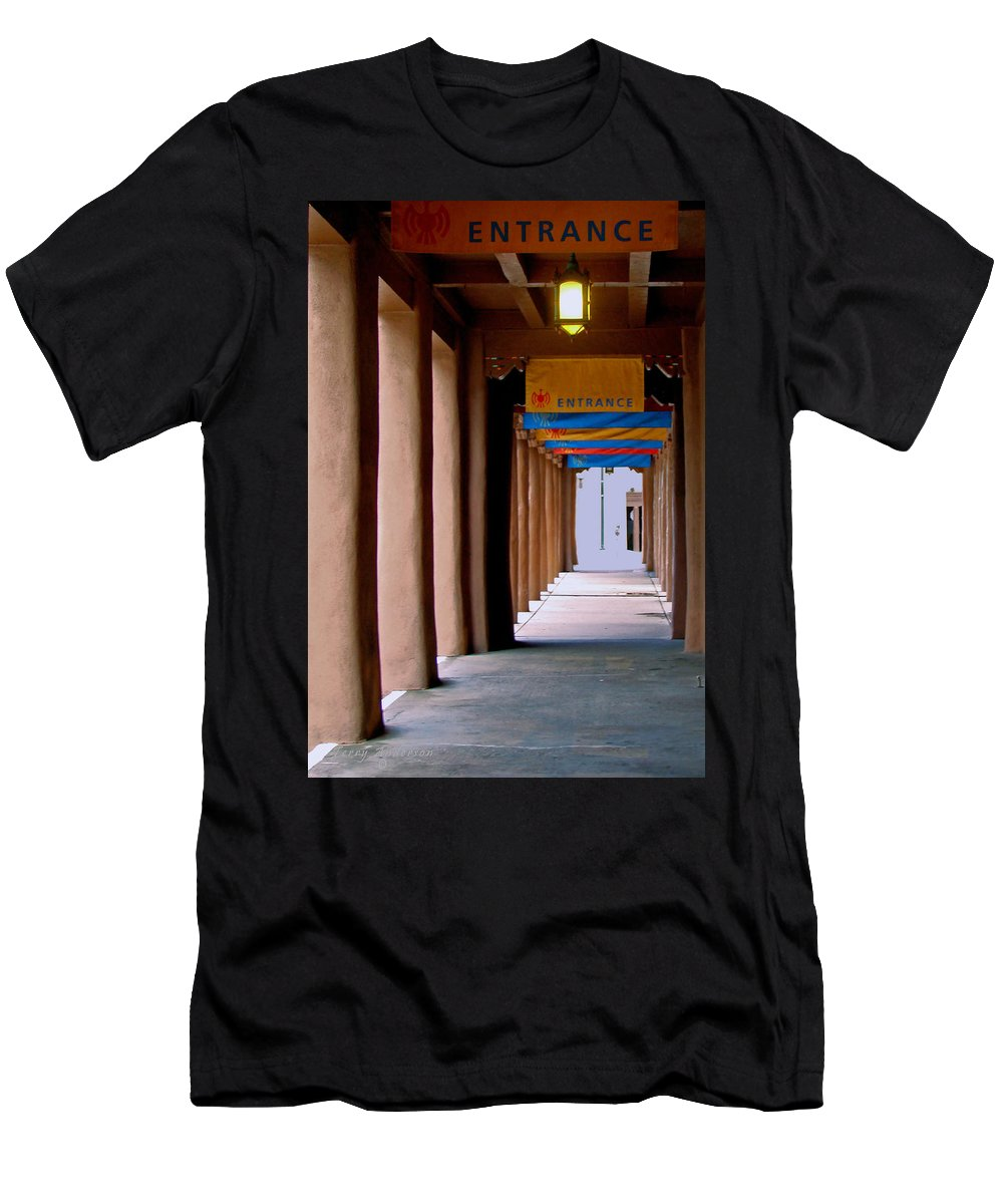 Santa Fe Men's T-Shirt (Athletic Fit) featuring the photograph Santa Fe Sidewalk by Terry Anderson
