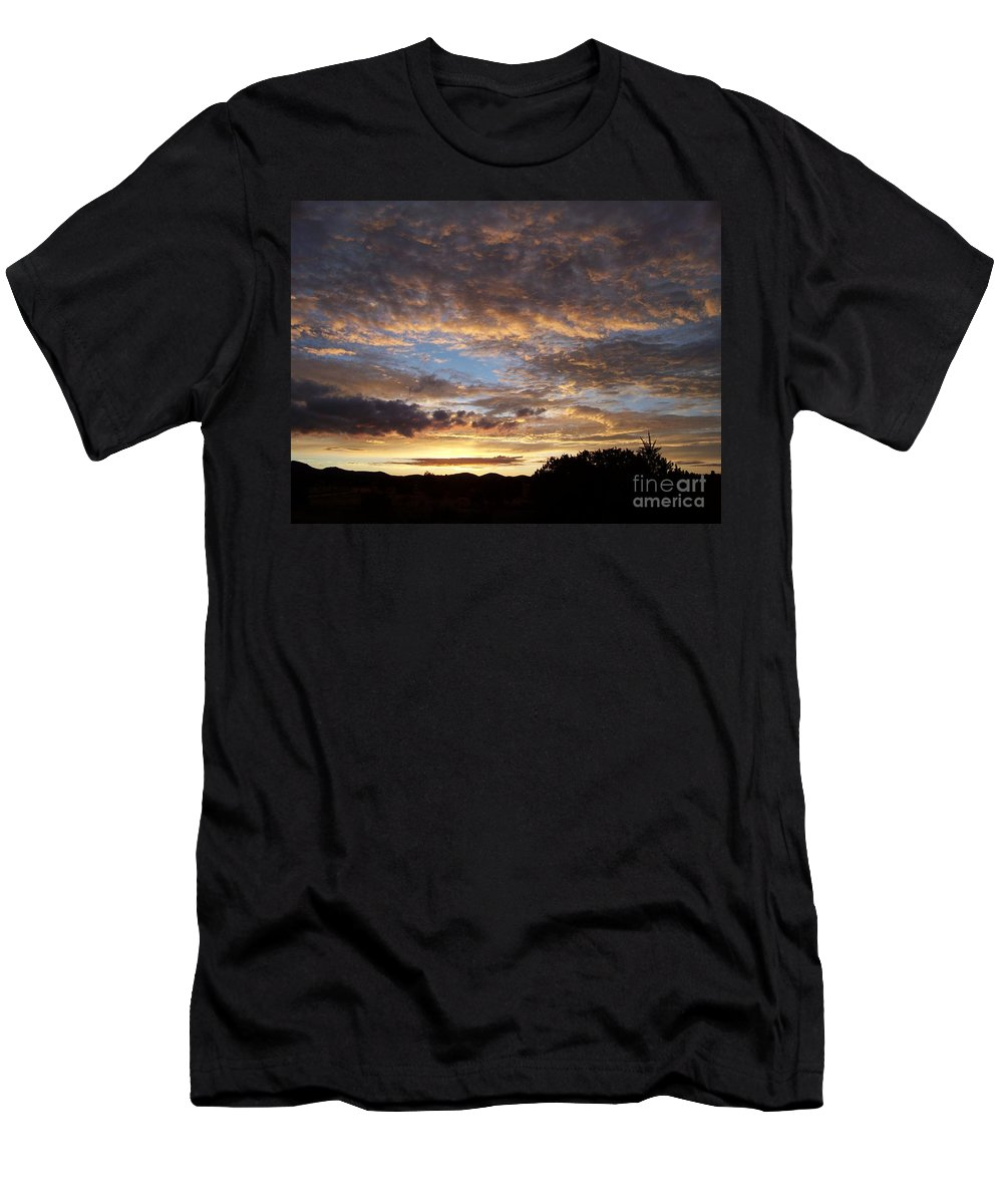 Sunrise Men's T-Shirt (Athletic Fit) featuring the photograph Santa Fe Sunrise by Brian Commerford
