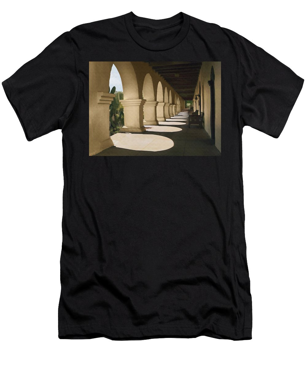 Mission Men's T-Shirt (Athletic Fit) featuring the digital art Santa Inez Arches by Sharon Foster