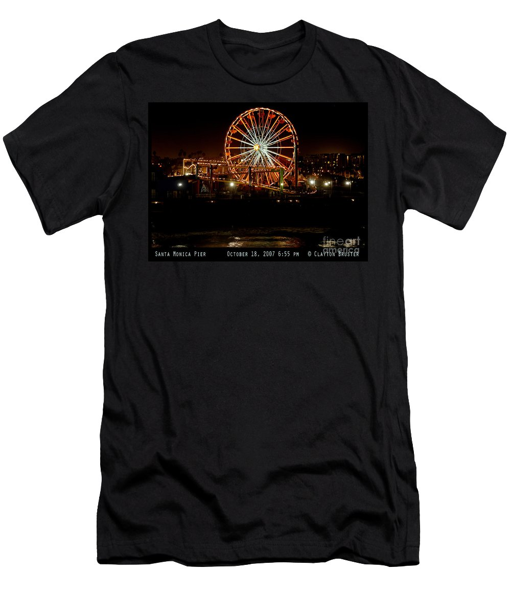 Clay Men's T-Shirt (Athletic Fit) featuring the photograph Santa Monica Pier October 18 2007 by Clayton Bruster