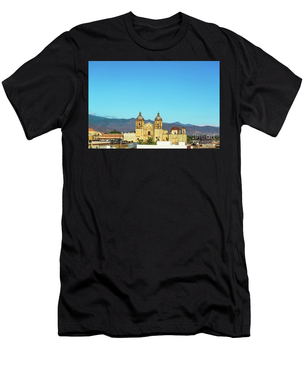 Oaxaca Men's T-Shirt (Athletic Fit) featuring the photograph Santo Domingo Church And Hills by Jess Kraft
