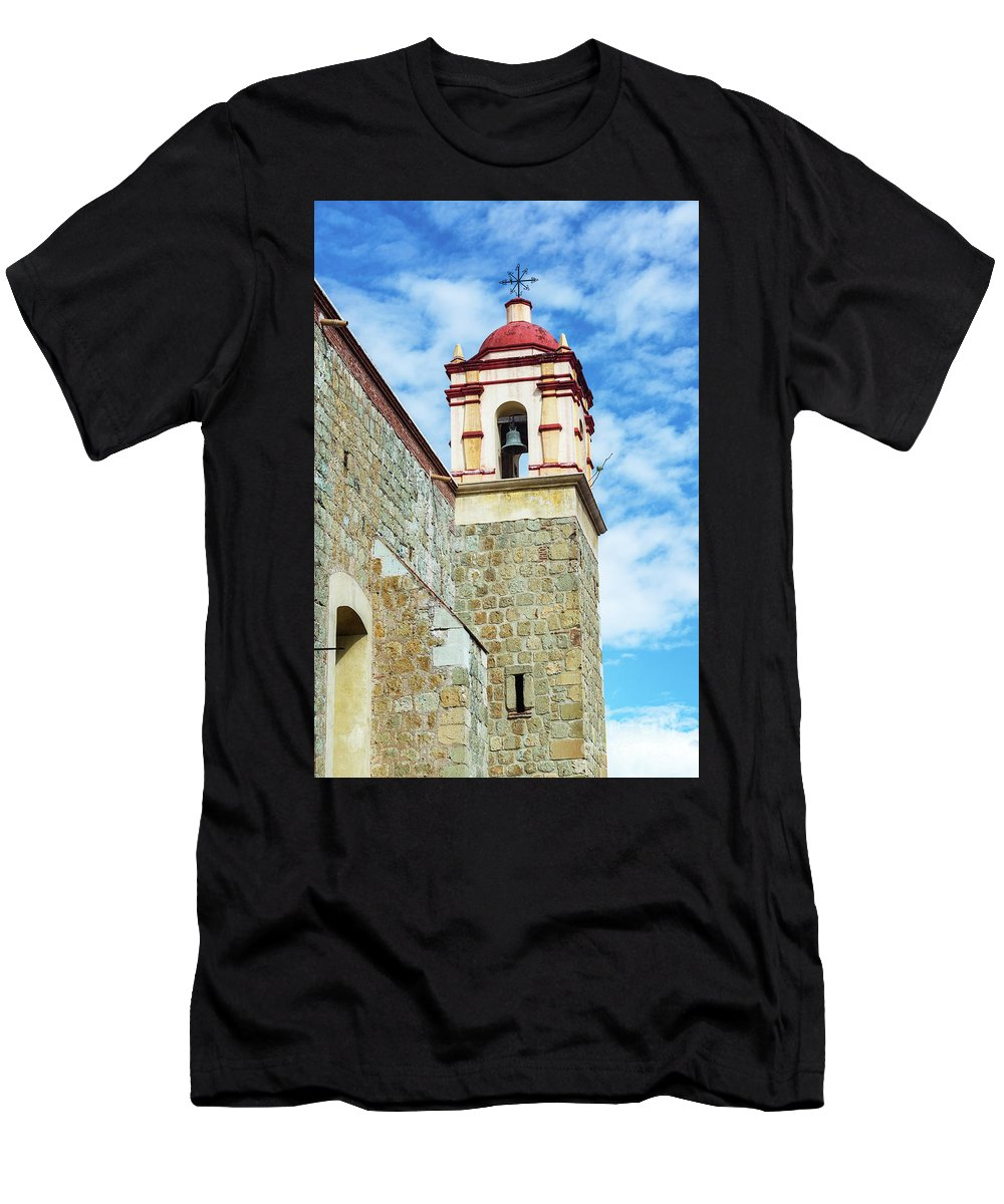 Oaxaca Men's T-Shirt (Athletic Fit) featuring the photograph Santo Domingo Church Spire by Jess Kraft