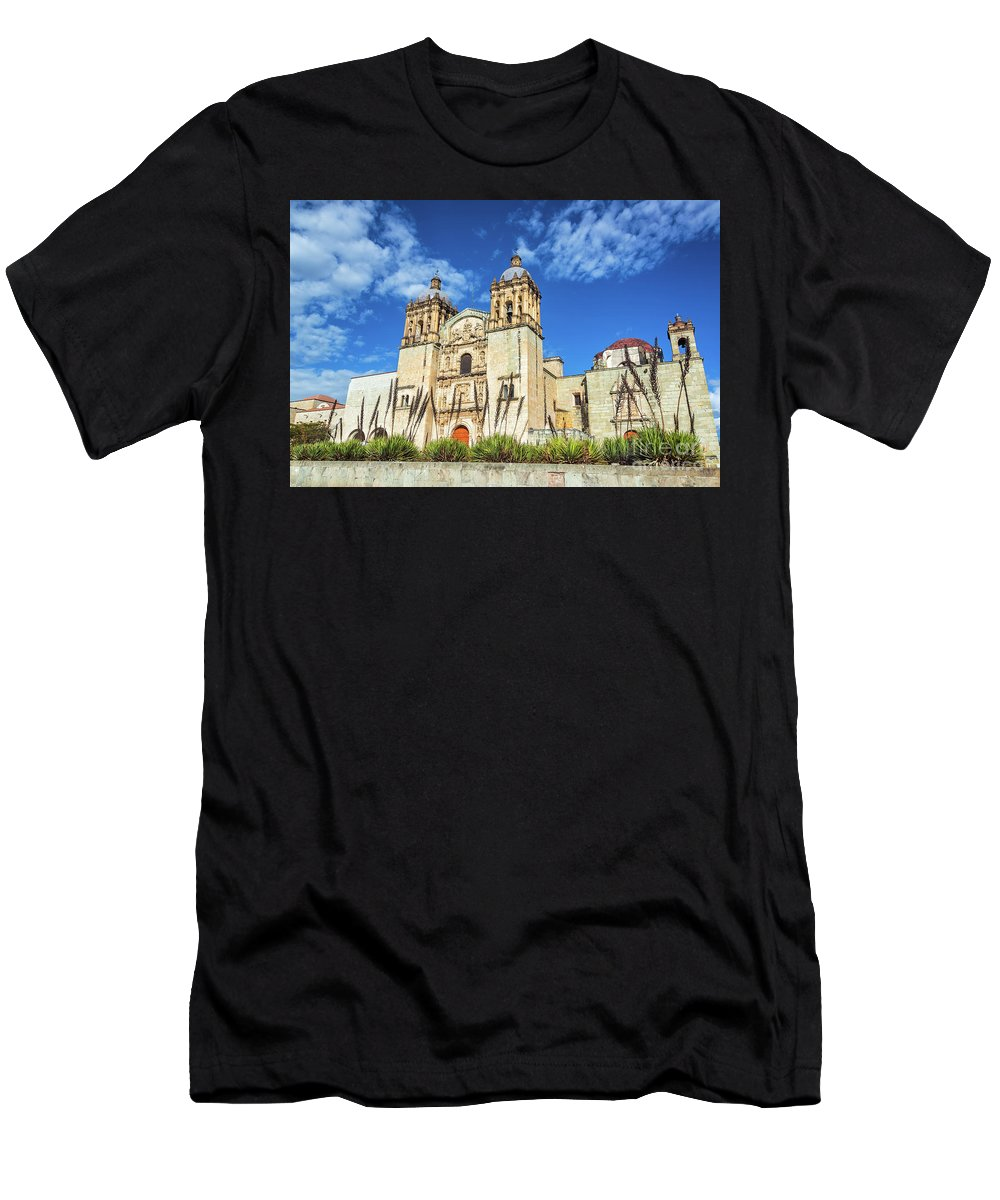 Oaxaca Men's T-Shirt (Athletic Fit) featuring the photograph Santo Domingo Church View by Jess Kraft