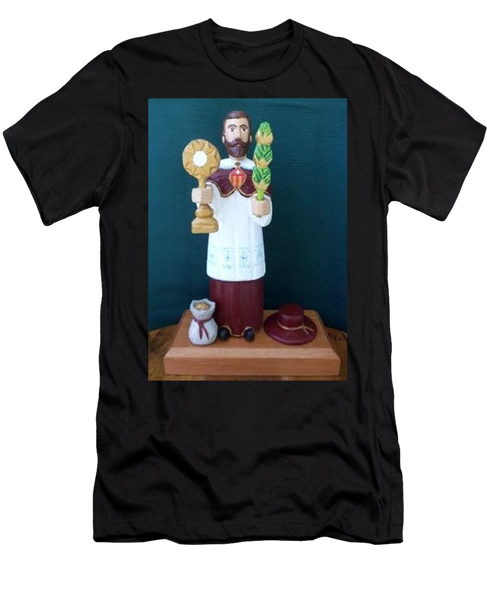 Wood Santo Men's T-Shirt (Athletic Fit) featuring the sculpture Santo by Stella Rios