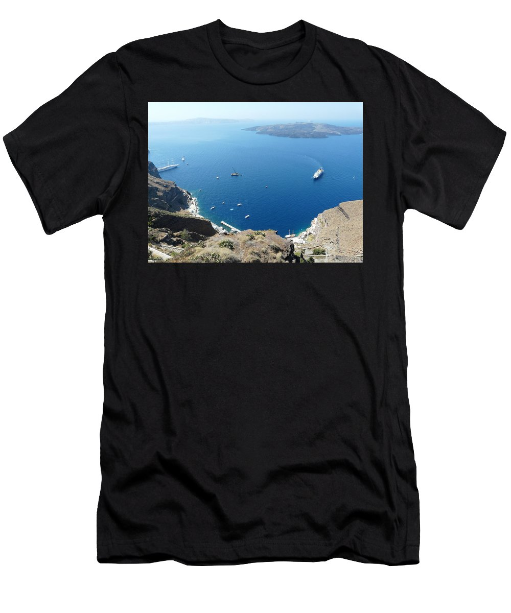 Santorin Men's T-Shirt (Athletic Fit) featuring the photograph Santorini Old Port At Fira by Valerie Ornstein