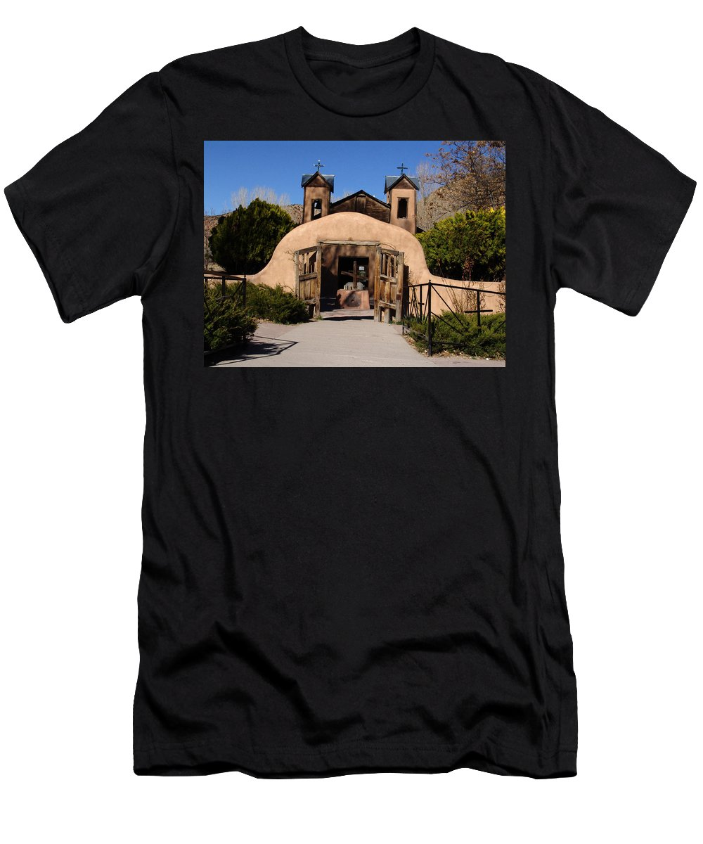 Church Men's T-Shirt (Athletic Fit) featuring the photograph Santuario De Chimayo Adobe Chapel by Carol Milisen