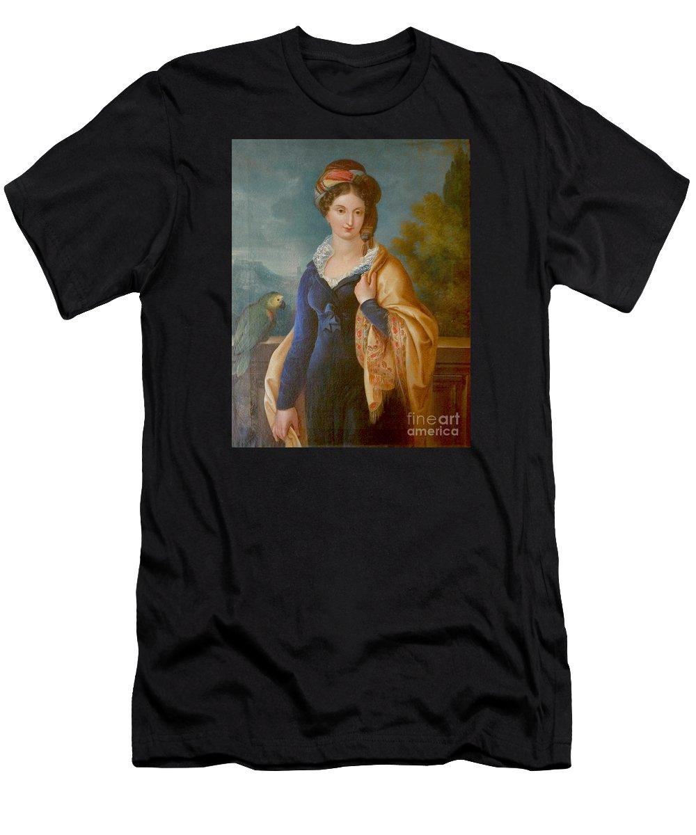 Sar La Principessa Marianna Carolina Di Sassonia Men's T-Shirt (Athletic Fit) featuring the painting Sar La Principessa Marianna by MotionAge Designs