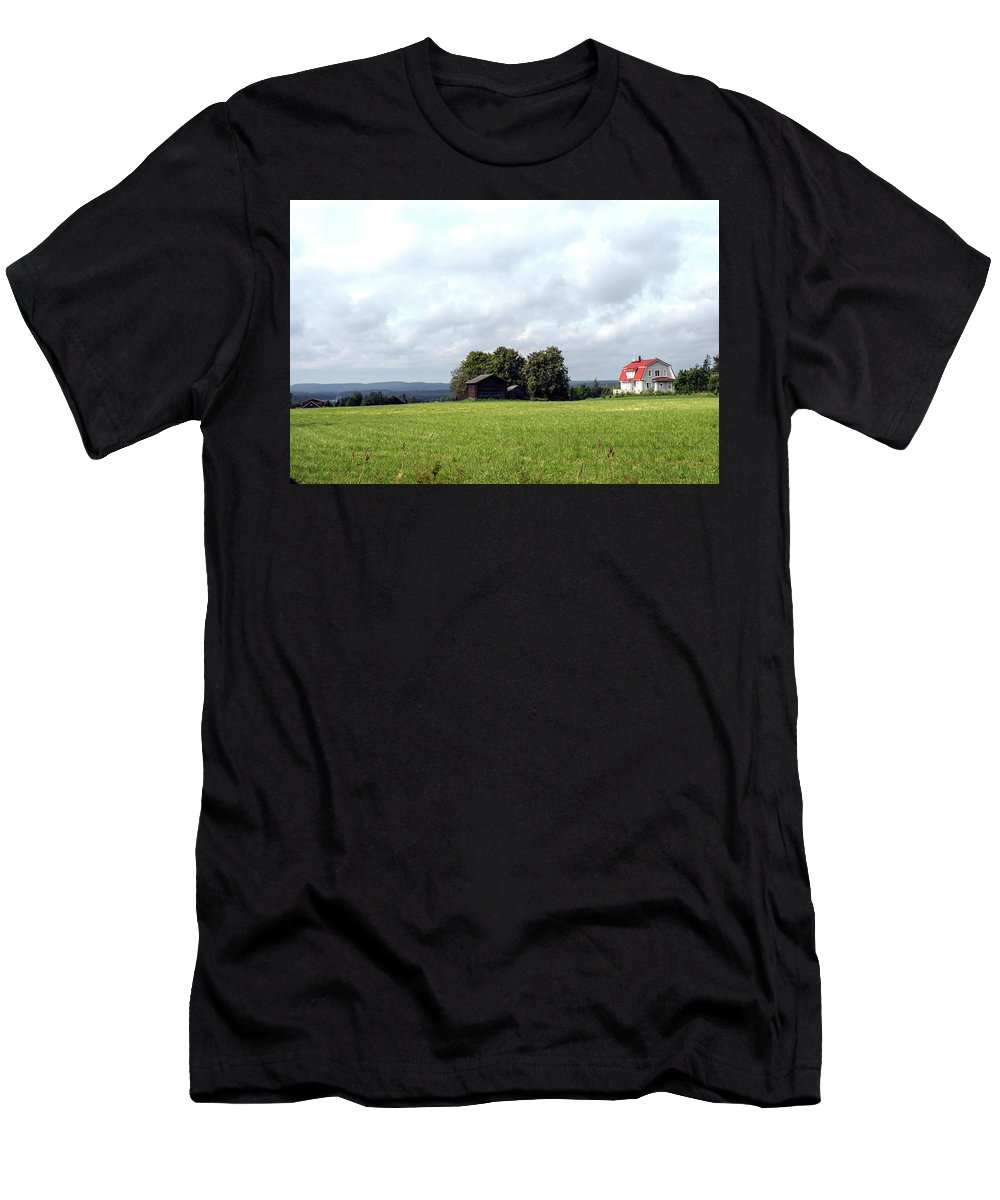 Buildings Men's T-Shirt (Athletic Fit) featuring the photograph Savonian Landscape by Jarmo Honkanen