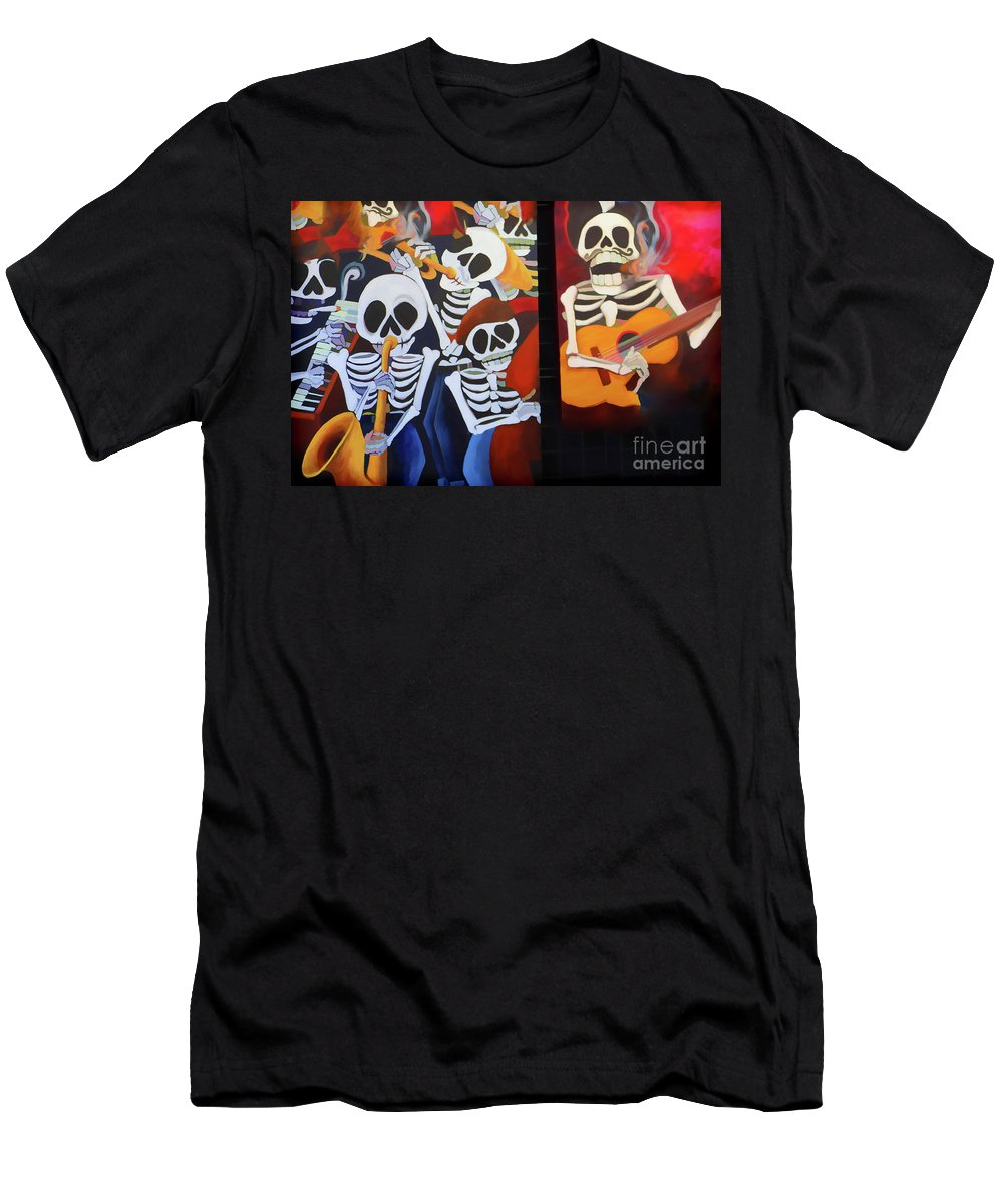 Dia De Los Muertos Men's T-Shirt (Athletic Fit) featuring the photograph Sax Guitar Music Day Of The Dead by Chuck Kuhn