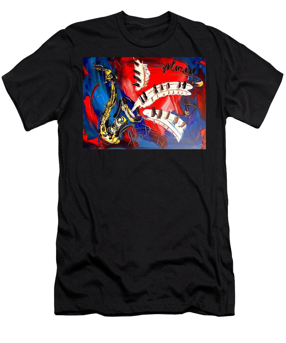 Piano Saxophone Men's T-Shirt (Athletic Fit) featuring the mixed media Saxophone by Mark Kazav