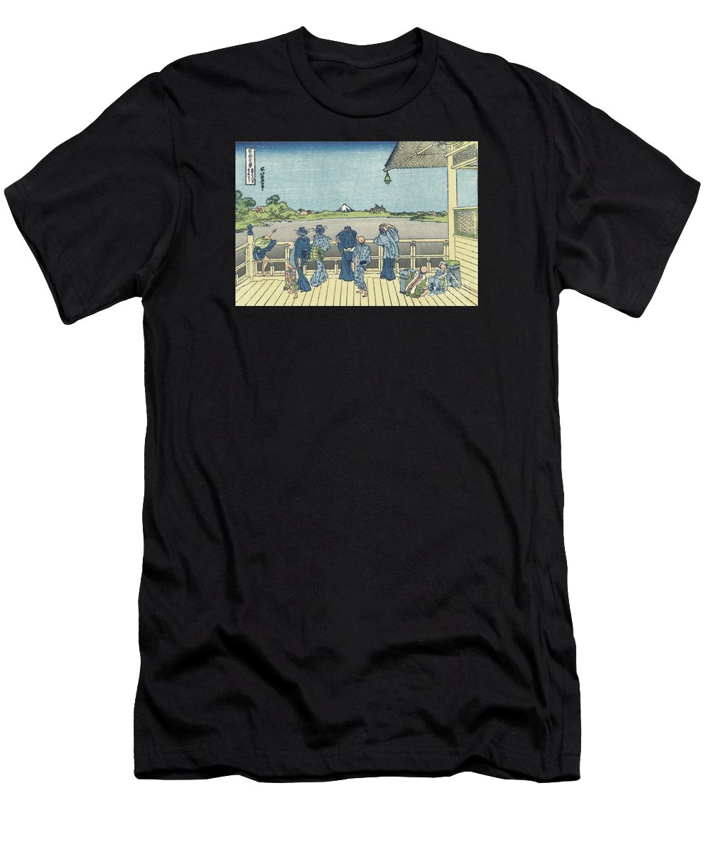 Katsushika Hokusai Men's T-Shirt (Athletic Fit) featuring the painting Sazai Hall Of The Five by MotionAge Designs