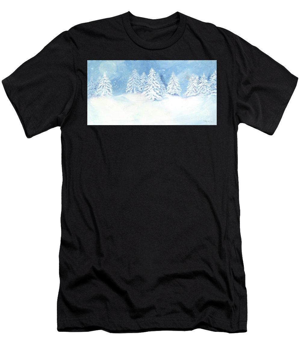 Hygge Men's T-Shirt (Athletic Fit) featuring the painting Scandinavian Winter Snowy Trees Hygge by Audrey Jeanne Roberts