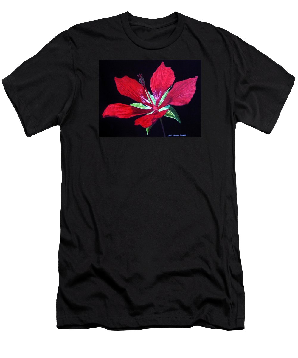 Hibiscus Men's T-Shirt (Athletic Fit) featuring the drawing Scarlet by Anita Putman