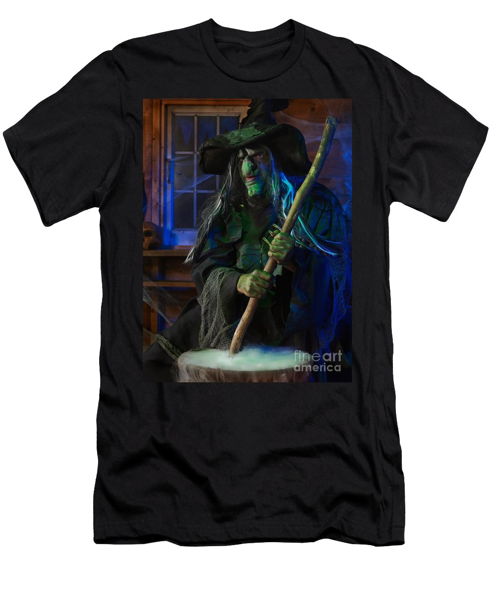 Witch Men's T-Shirt (Athletic Fit) featuring the photograph Scary Old Witch by Oleksiy Maksymenko