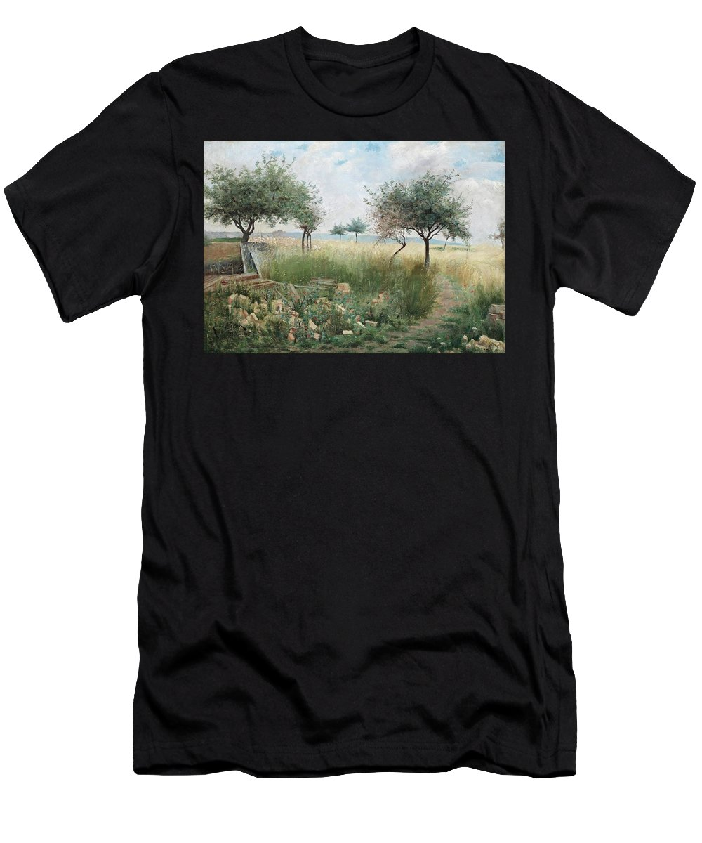 Julia Beck Men's T-Shirt (Athletic Fit) featuring the painting Scene From Rhine by MotionAge Designs