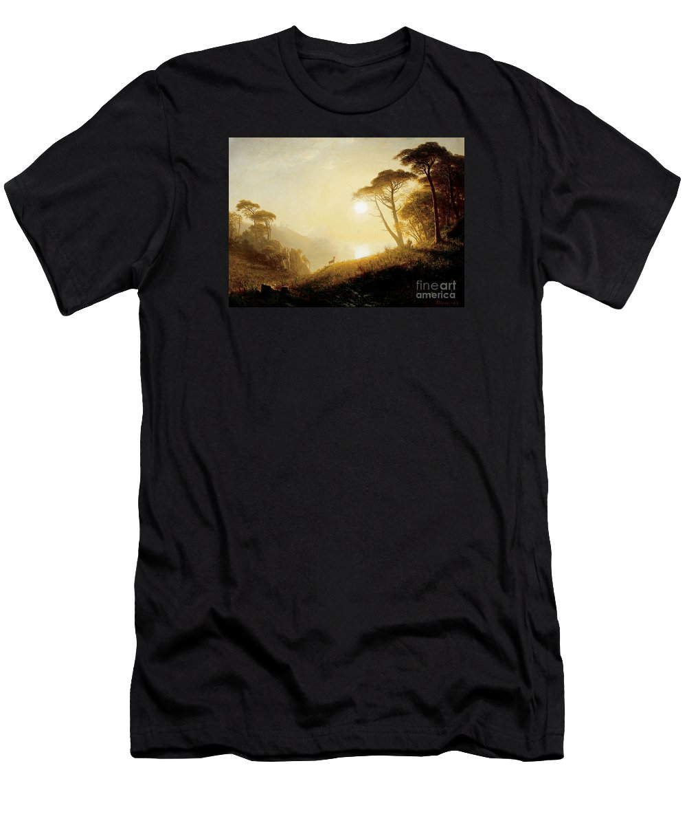 Albert_bierstadt_-_scene_in_yosemite_valley Men's T-Shirt (Athletic Fit) featuring the painting Scene_in_yosemite_valley by Celestial Images