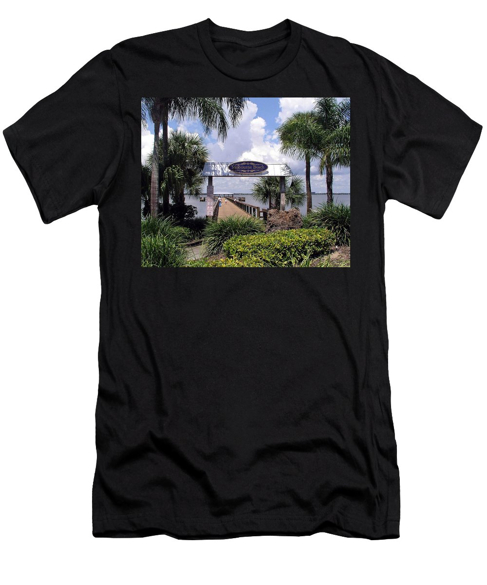 Melbourne Beach; Melbourne; Beach; Florida Usa; Brevard; Pier; Wharf; Scenic; River; Indian; Clouds; Men's T-Shirt (Athletic Fit) featuring the photograph Scenic Melbourne Beach Pier Florida by Allan Hughes