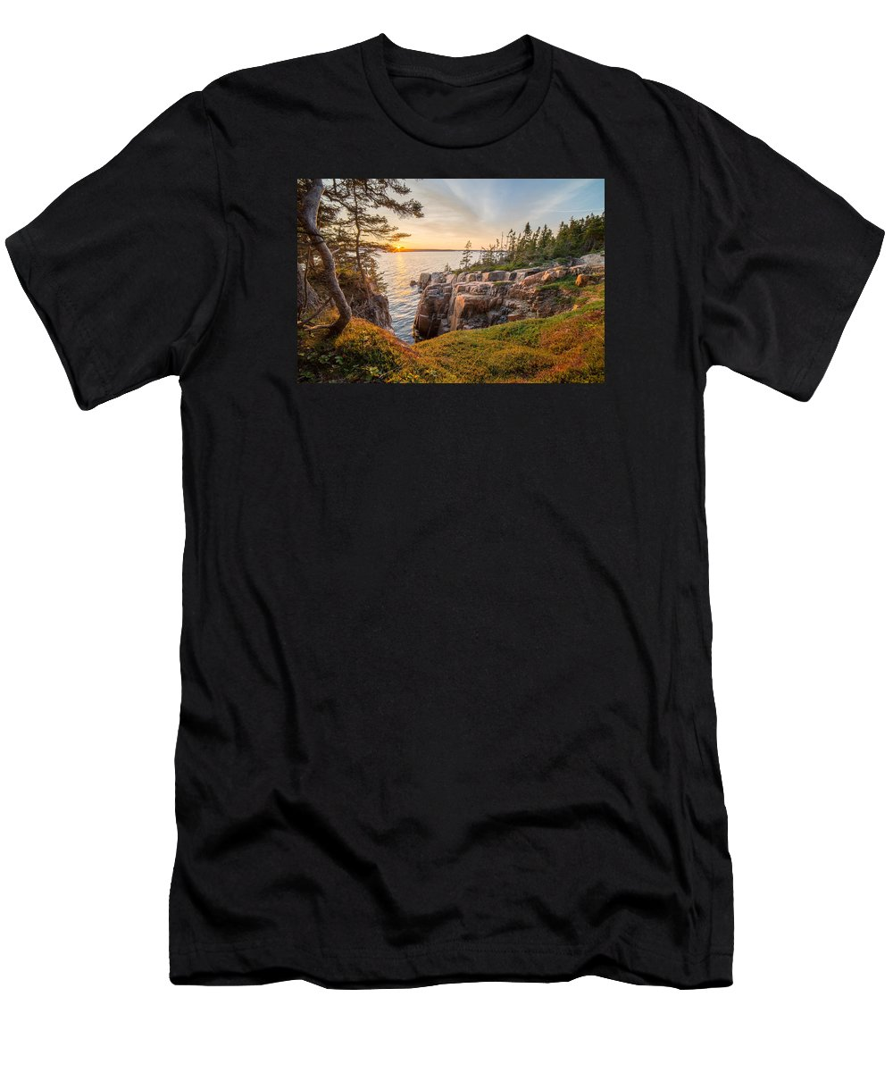 Schoodic Point Men's T-Shirt (Athletic Fit) featuring the photograph Schoodic Point Sunset by Humble Valley Photography