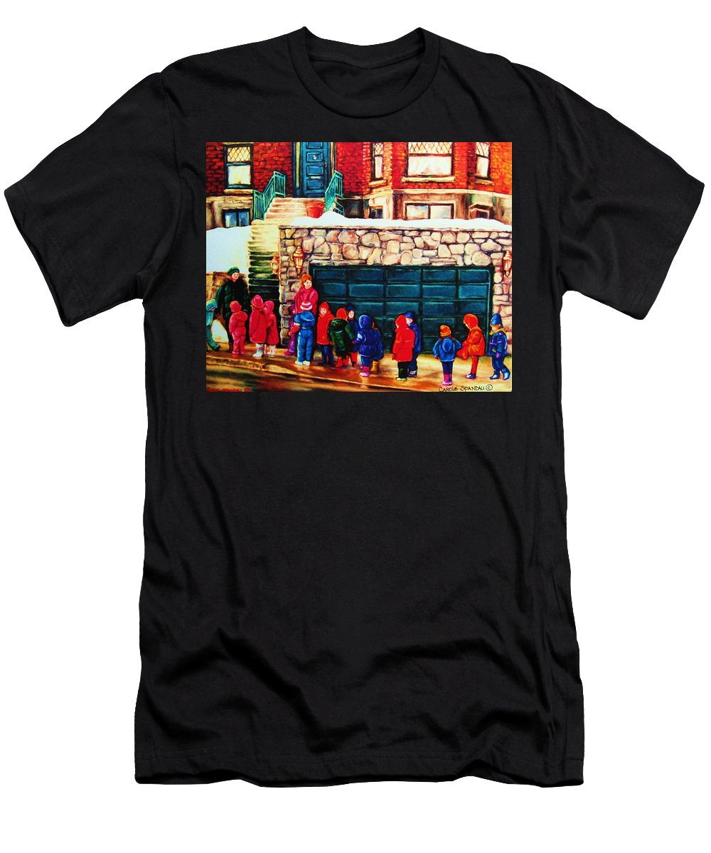 Montreal Streetscenes Men's T-Shirt (Athletic Fit) featuring the painting Schools Out by Carole Spandau