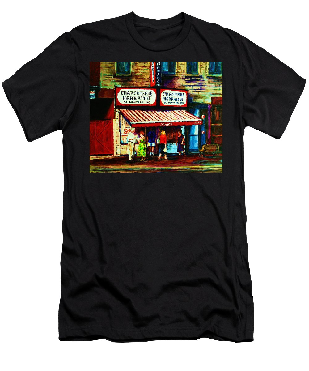 Schwartz Deli Men's T-Shirt (Athletic Fit) featuring the painting Schwartzs Famous Smoked Meat by Carole Spandau