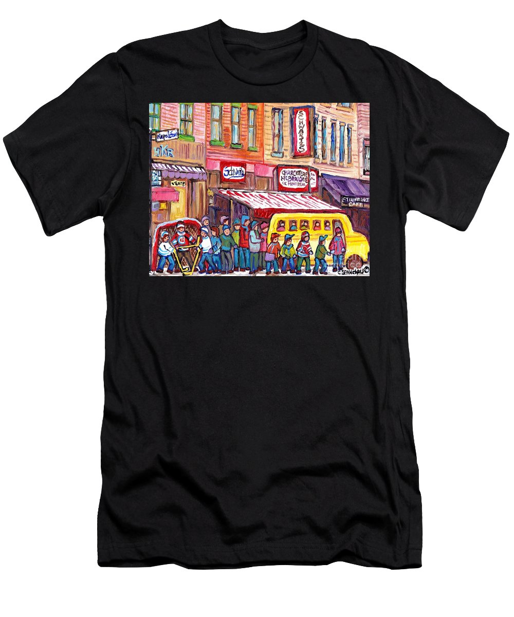 Schwartz Men's T-Shirt (Athletic Fit) featuring the painting Schwartz's Smoked Meat Deli On The Main Montreal Hockey Art Scenes School Bus Painting C Spandau Art by Carole Spandau