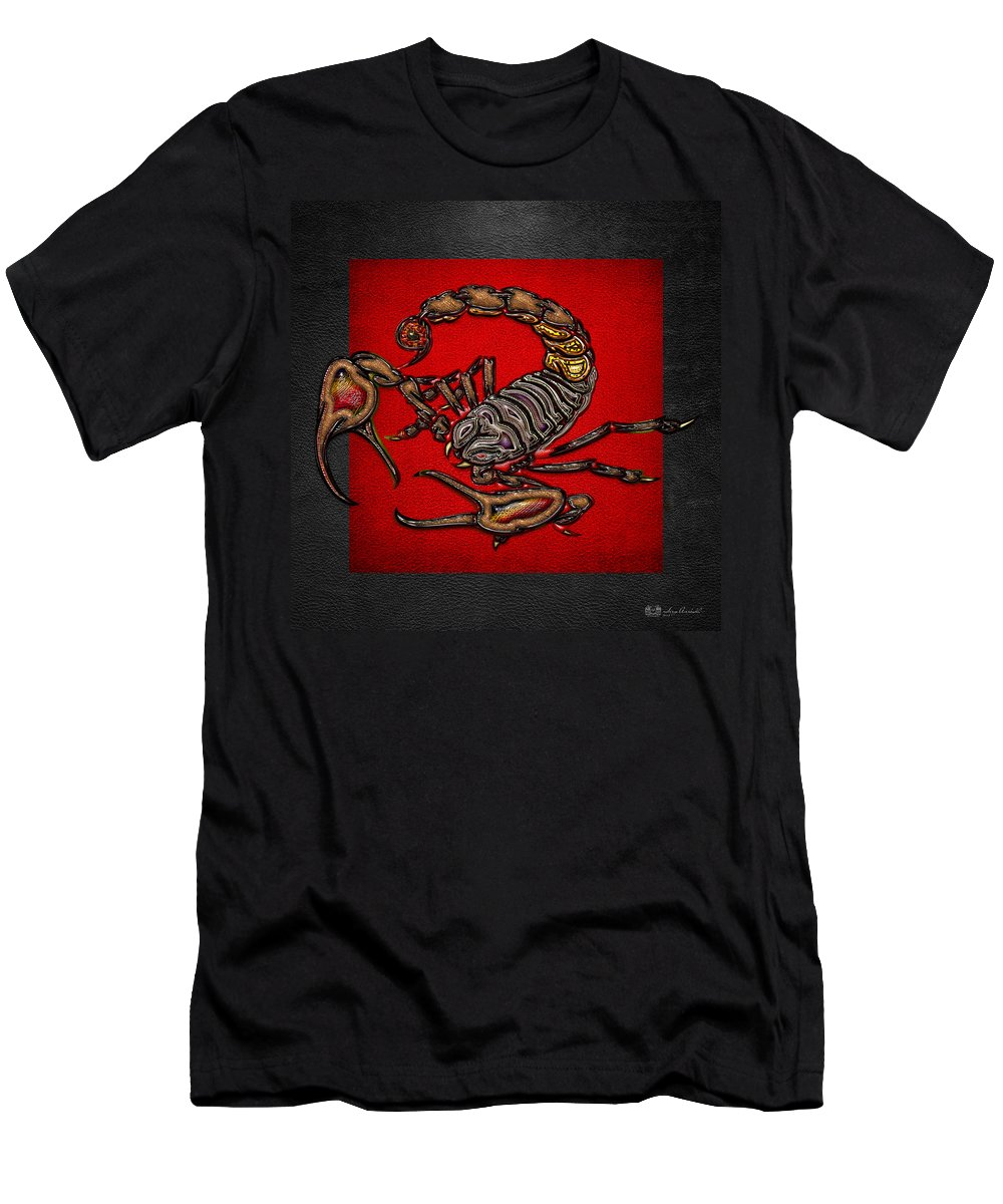 Beasts Of The Wild By Serge Averbukh T-Shirt featuring the photograph Scorpion on Red and Black by Serge Averbukh