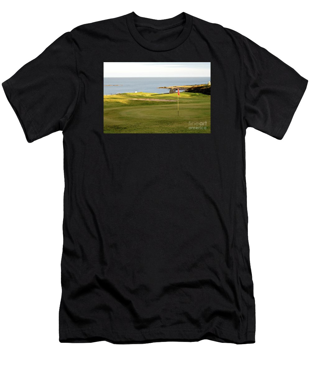 Strathlene Golf Course Men's T-Shirt (Athletic Fit) featuring the photograph Scottish Golf by Jim Macdonald