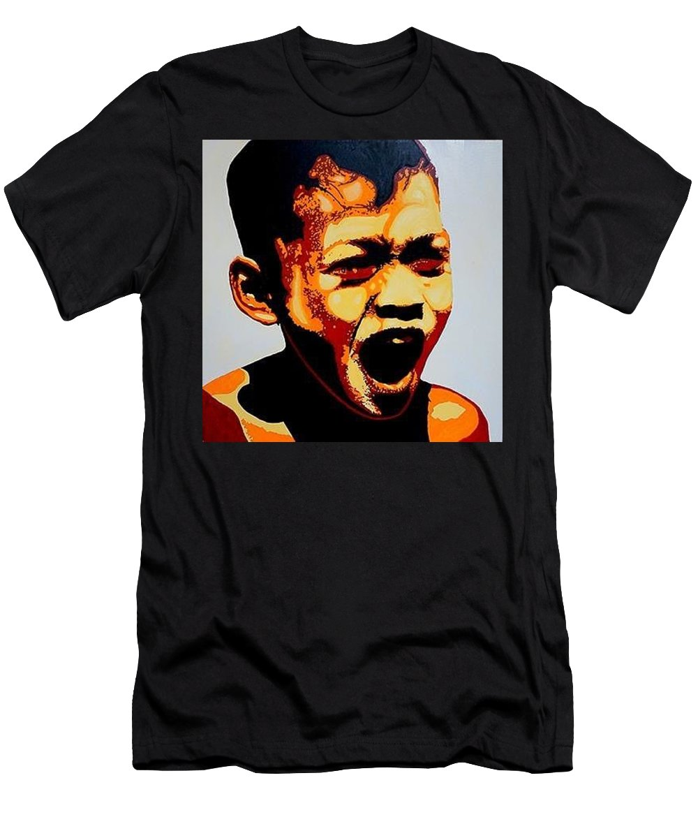 Portrait Men's T-Shirt (Athletic Fit) featuring the painting Scream by Seth Hale