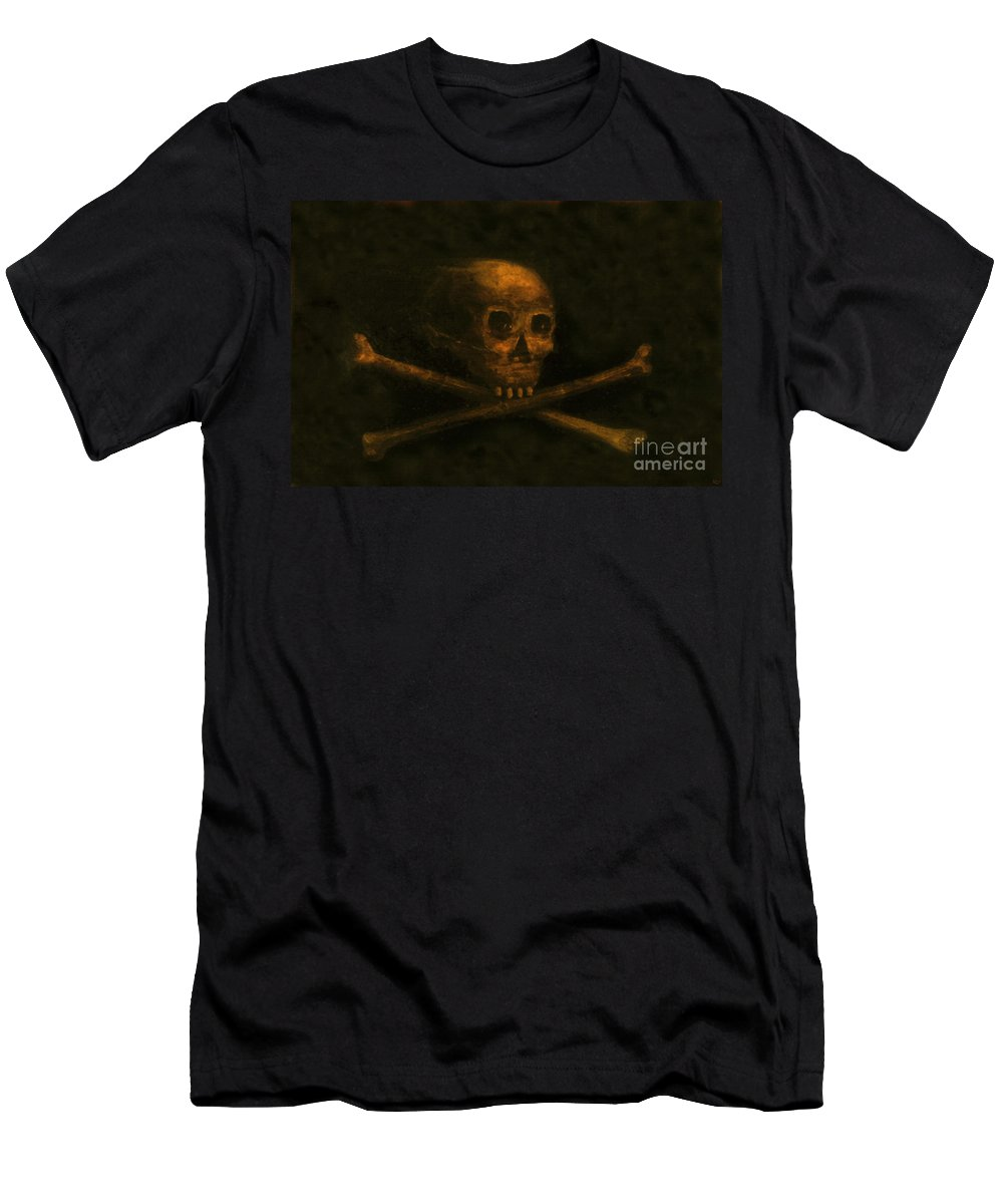 Scull And Crossbones Men's T-Shirt (Athletic Fit) featuring the painting Scull And Crossbones by David Lee Thompson