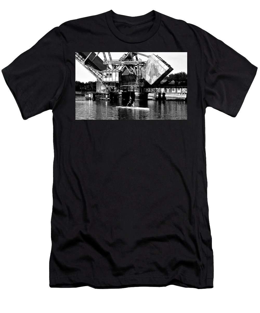 Sculling Men's T-Shirt (Athletic Fit) featuring the painting Sculling For Two by David Lee Thompson