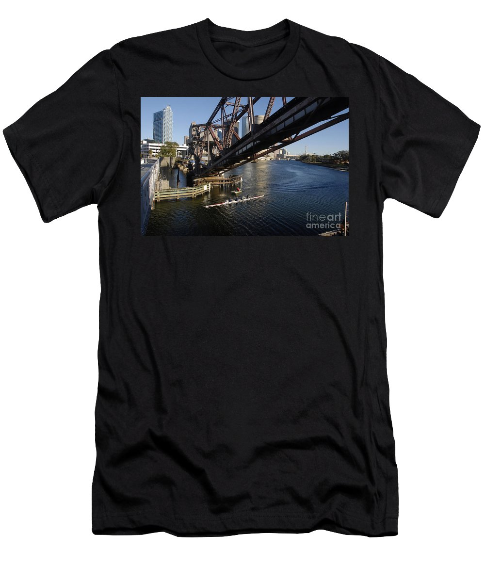 Sculling Men's T-Shirt (Athletic Fit) featuring the photograph Sculling The Hillsborough by David Lee Thompson