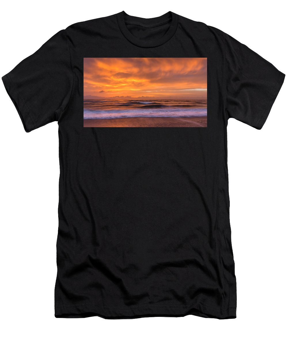 Sunrise Men's T-Shirt (Athletic Fit) featuring the photograph Sea And Sky by Thomas Miller
