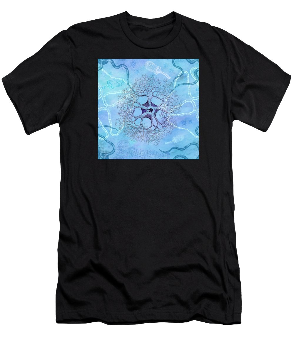 Marine Men's T-Shirt (Athletic Fit) featuring the digital art Sea Life Beach House Marine by Antique Images