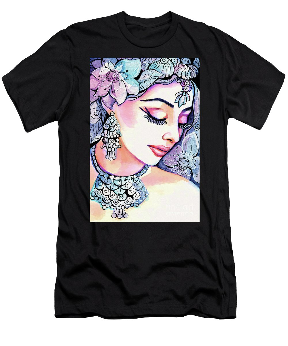 Indian Woman Men's T-Shirt (Athletic Fit) featuring the painting Sea Mist by Eva Campbell