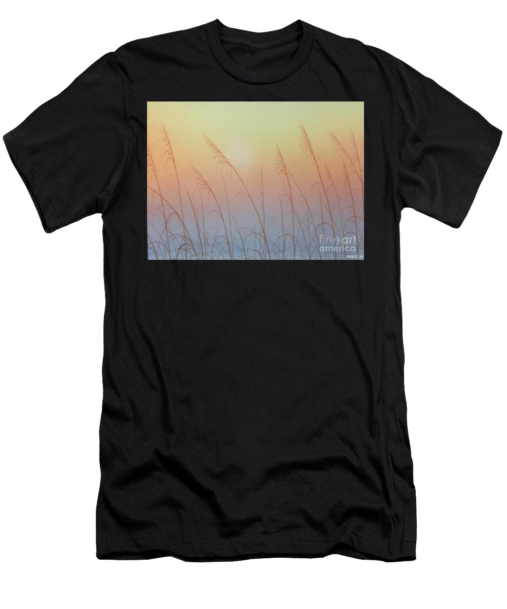 Sea Oats Men's T-Shirt (Athletic Fit) featuring the painting Sea Oats Sunrise by Gary Mack