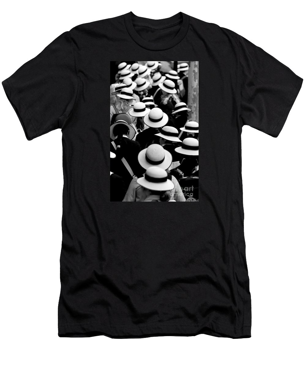 Hats Schoolgirls Men's T-Shirt (Athletic Fit) featuring the photograph Sea Of Hats by Avalon Fine Art Photography