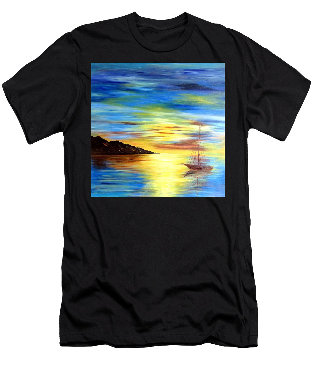 #artist #art #abstract #painting #textured #paints #rahat #beautiful #insta #dailyart #love #life #instamood #follow #amazing #world #pics #india #terraincognita #oilpastels #artbasel #artbuyers #artdealer #artcollector #artmuseum #paintingoftheday #contemporaryart #fashion #abstractart #sea #sunset #sun #landscape Men's T-Shirt (Athletic Fit) featuring the painting Sea Scape by Rahat Kazmi