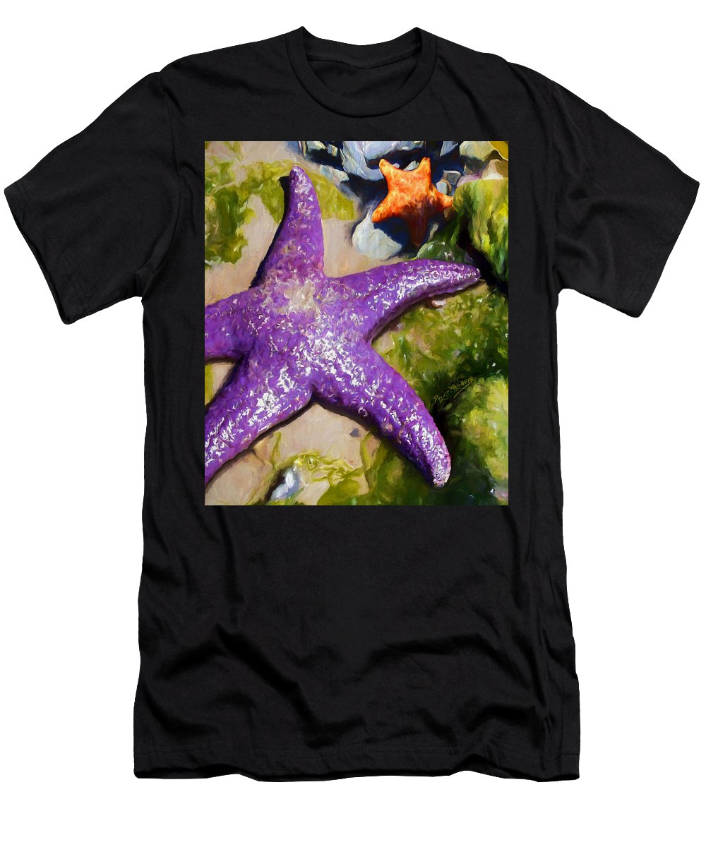 Sea Stars Men's T-Shirt (Athletic Fit) featuring the painting Sea Stars by David Wagner