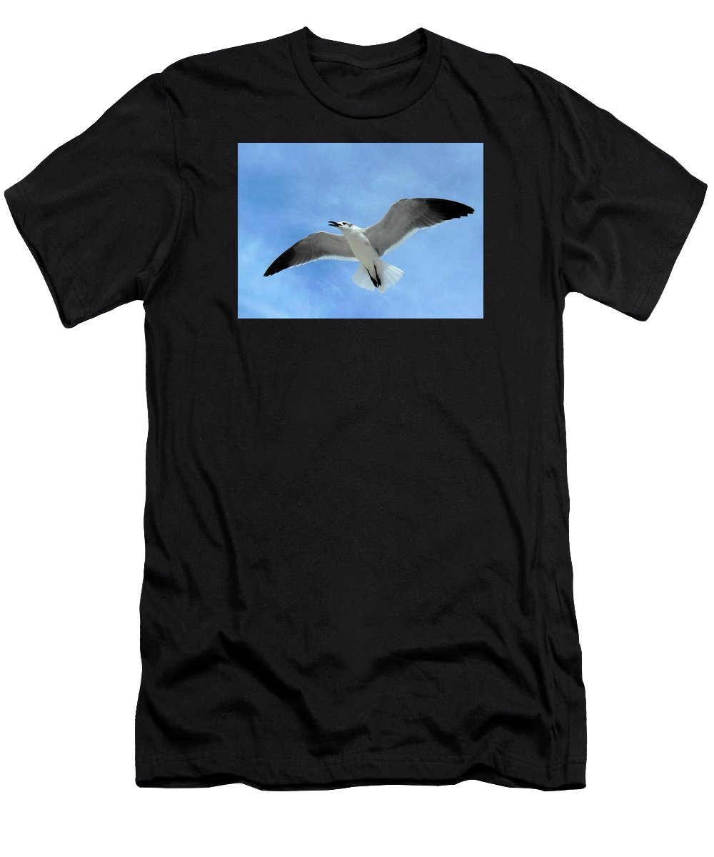 Florida Men's T-Shirt (Athletic Fit) featuring the photograph Seagull #1 by Bonita Barlow