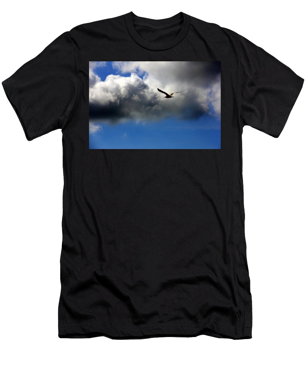 Birds Men's T-Shirt (Athletic Fit) featuring the photograph Seagull by Athala Carole Bruckner