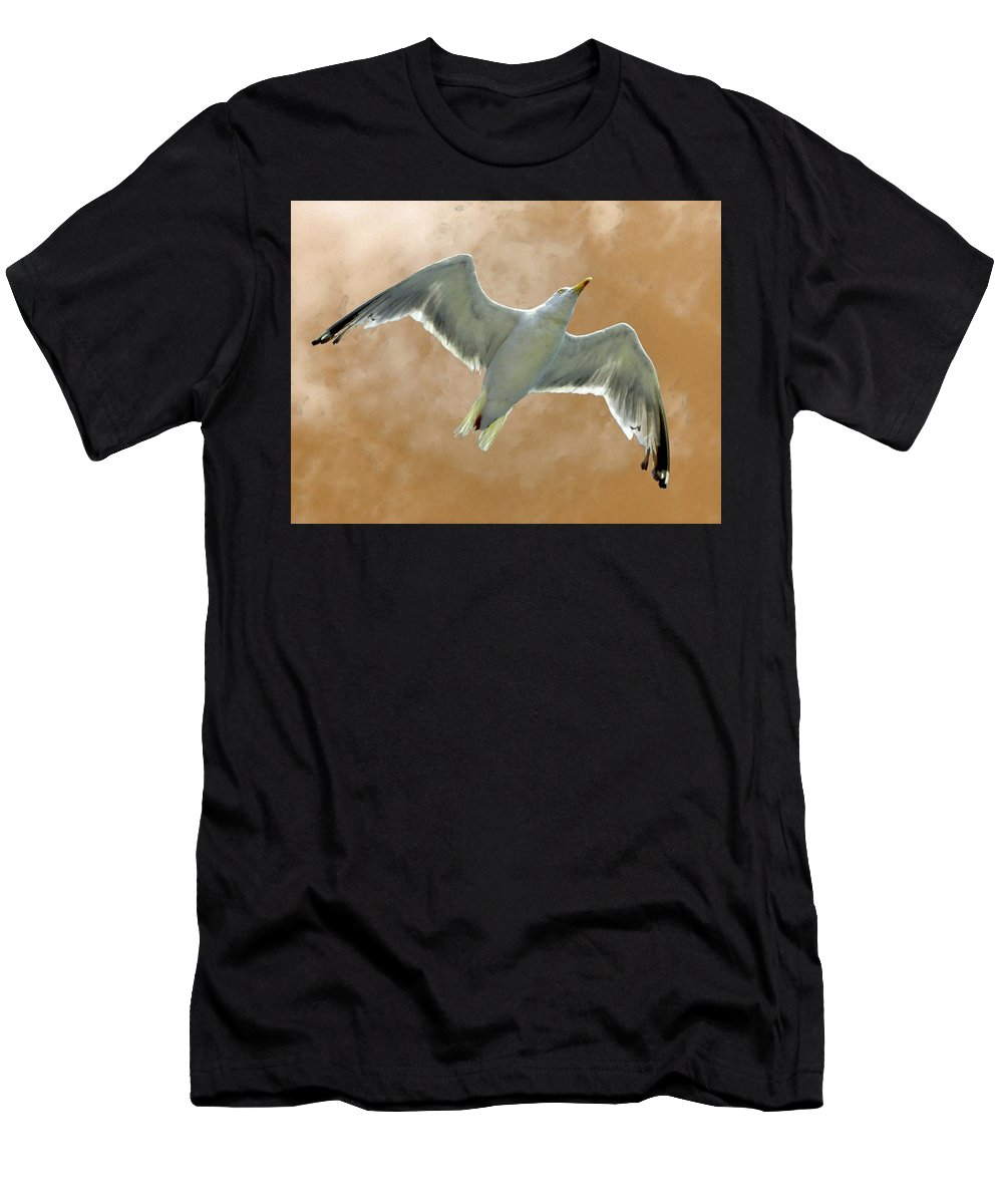 Seagull Men's T-Shirt (Athletic Fit) featuring the photograph Seagull In Flight 1 by Mark Sellers