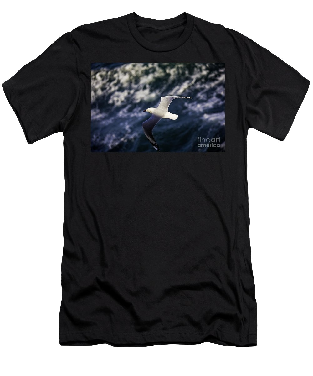 Seagull Men's T-Shirt (Athletic Fit) featuring the photograph Seagull In Wake by Sheila Smart Fine Art Photography