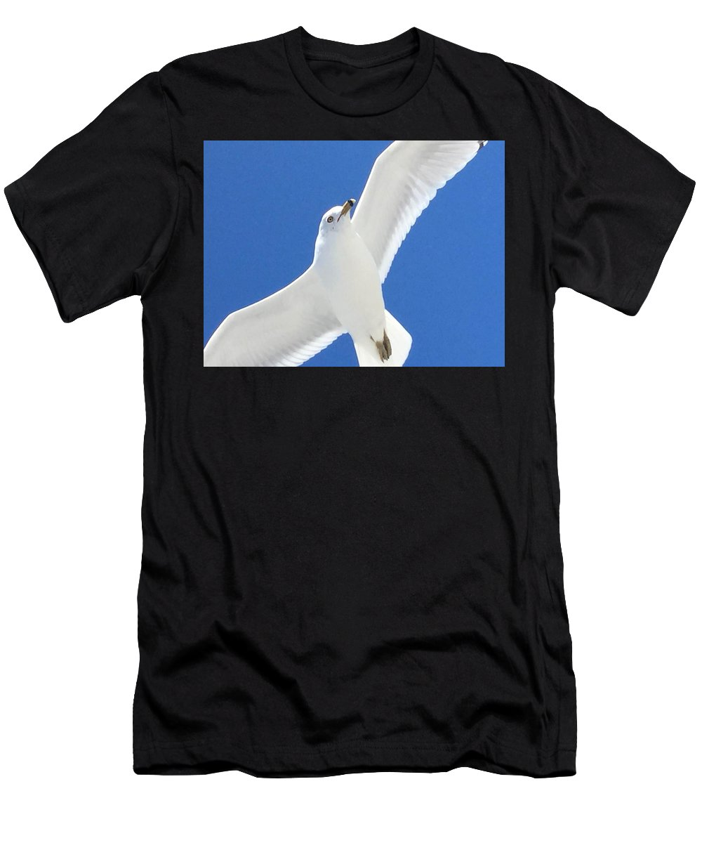 Men's T-Shirt (Athletic Fit) featuring the photograph Seagull On Folly by Karen Dawson