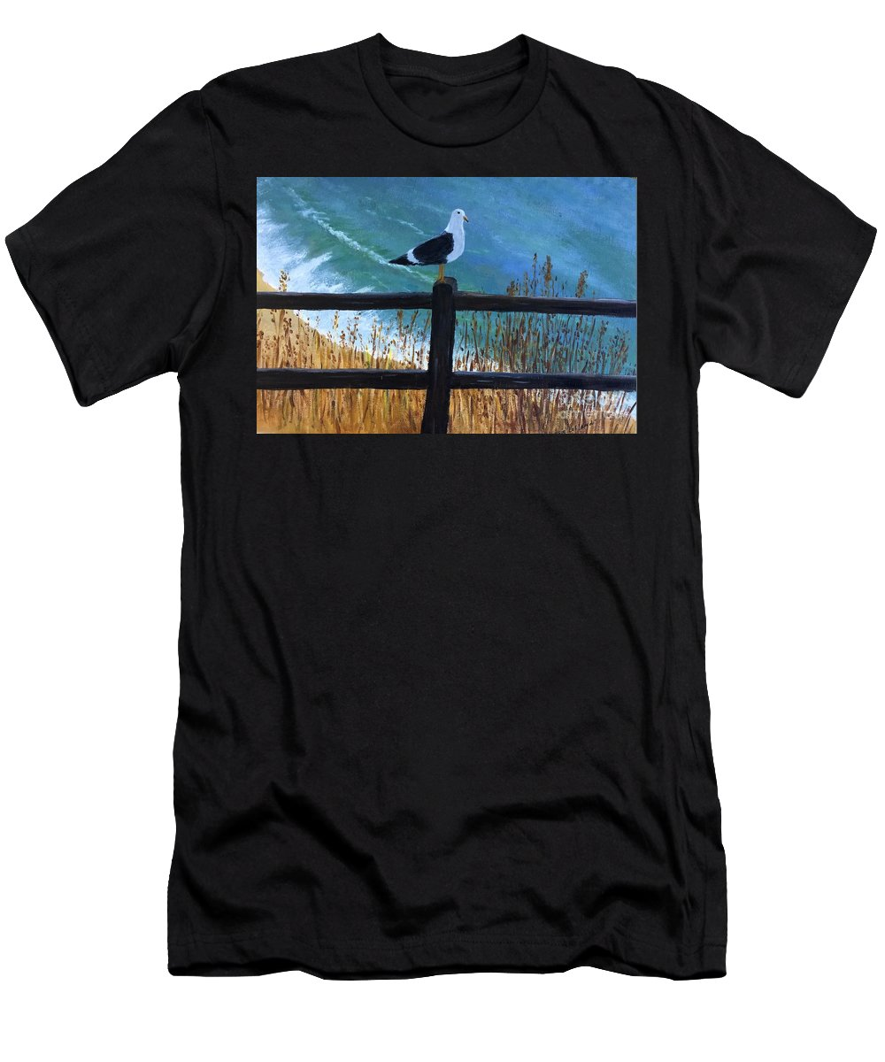 Gull Men's T-Shirt (Athletic Fit) featuring the painting Seagull On The Fence by Jessie Lofland