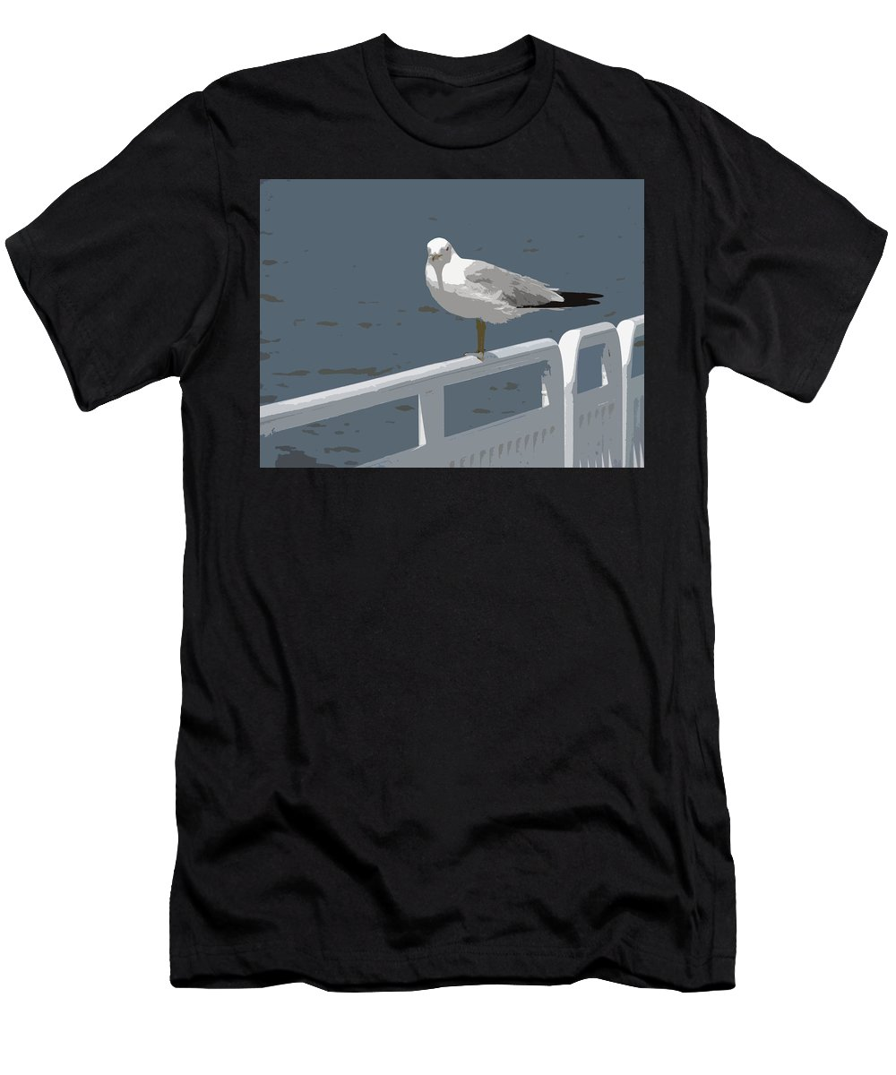 Seagull Men's T-Shirt (Athletic Fit) featuring the photograph Seagull On The Rail by Michelle Calkins