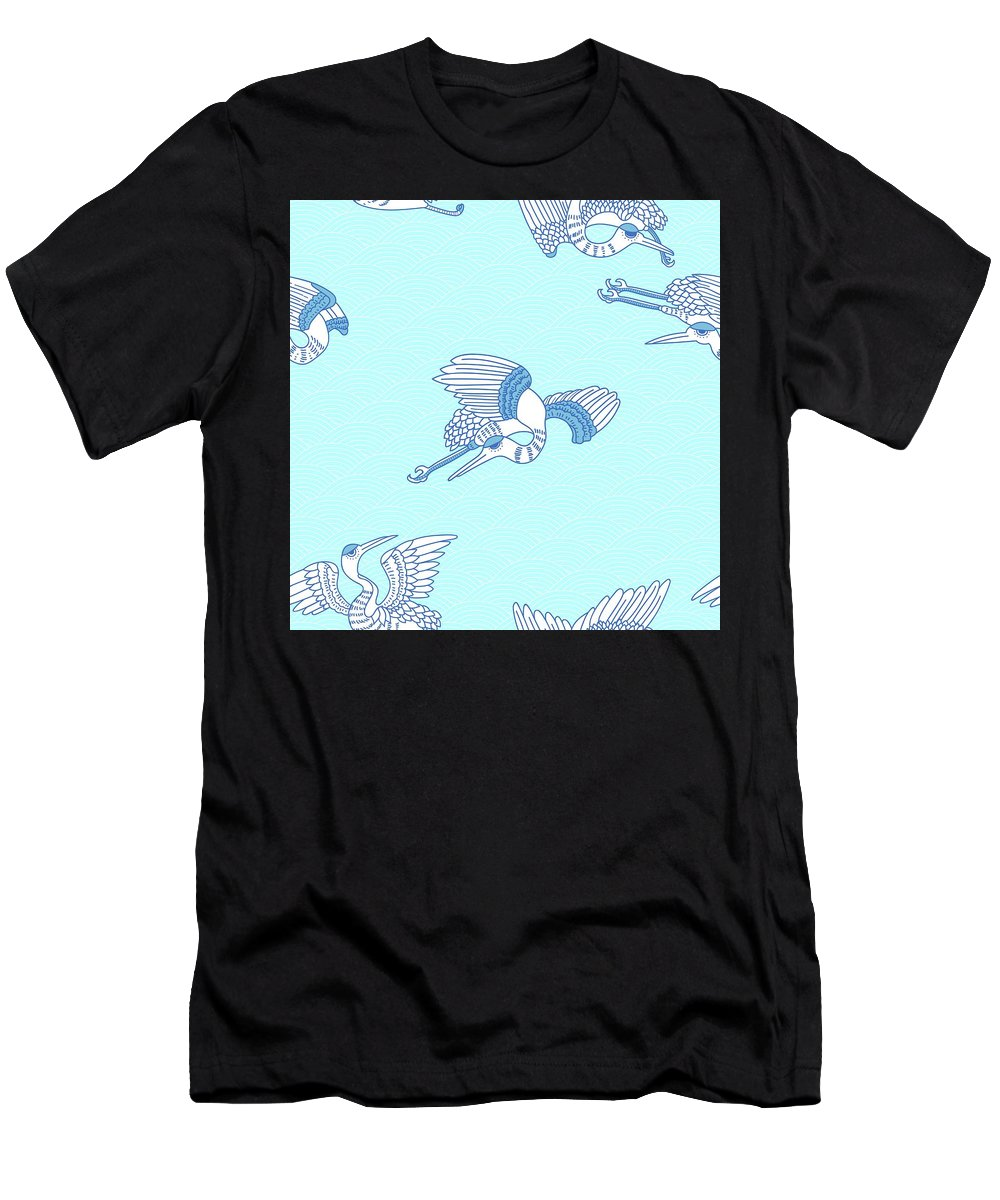 Chinese Men's T-Shirt (Athletic Fit) featuring the digital art Seagulls by Cutequokka2