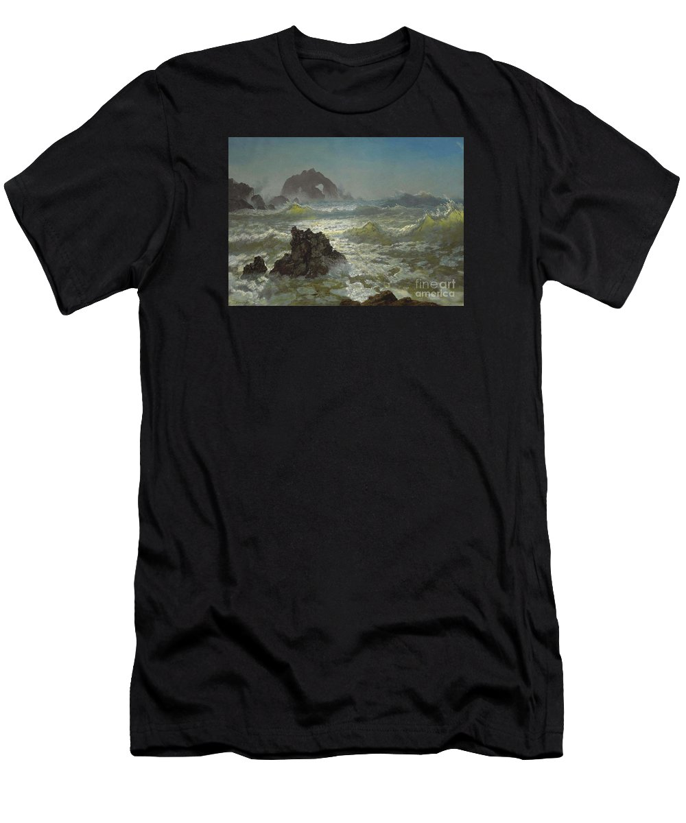Albert_bierstadt_-_seal_rock Men's T-Shirt (Athletic Fit) featuring the painting Seal_rock,_california by Celestial Images