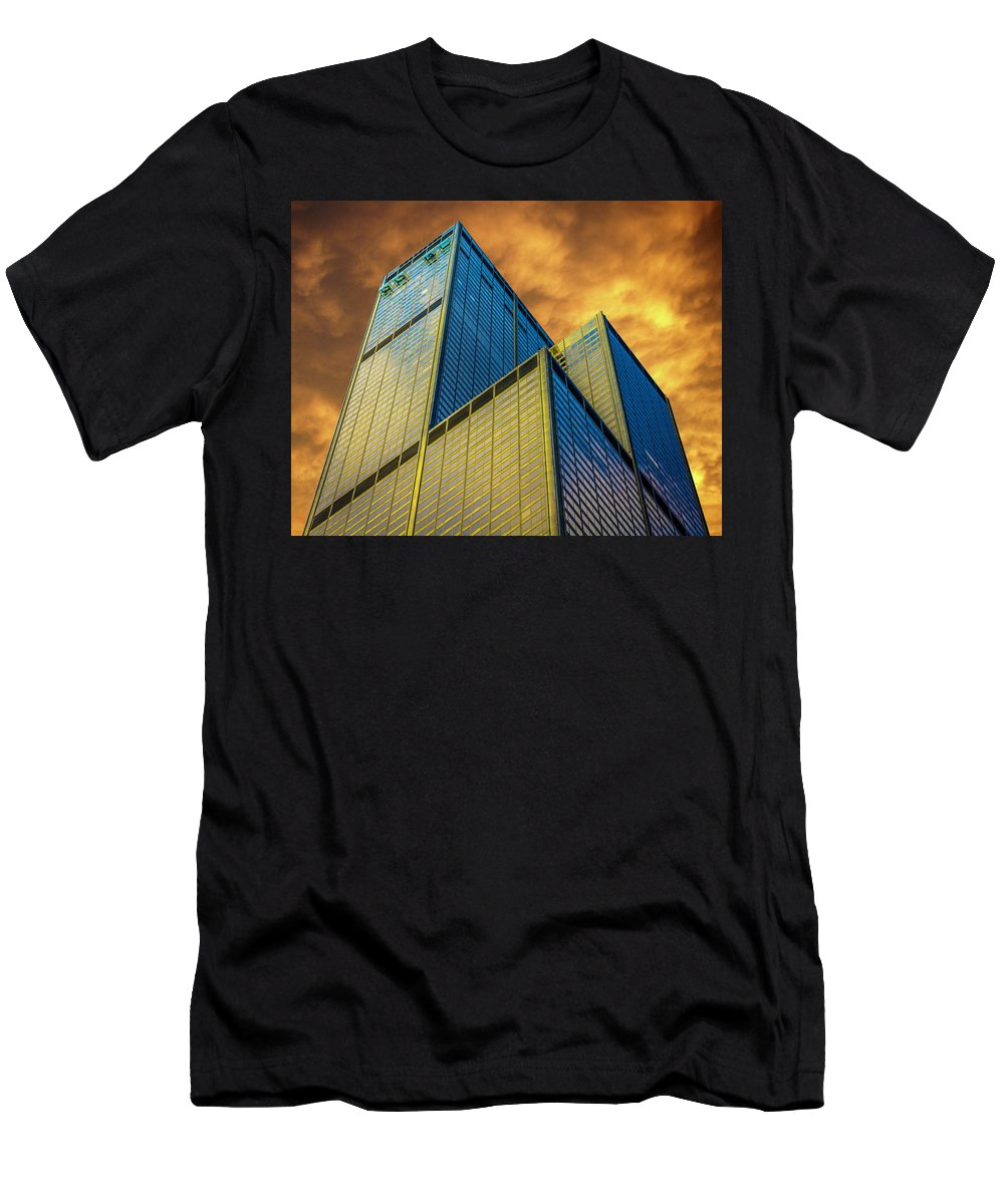 Sears Tower By Skidmore Men's T-Shirt (Athletic Fit) featuring the photograph Sears Tower By Skidmore, Owings And Merrill Dsc4411 by Raymond Kunst