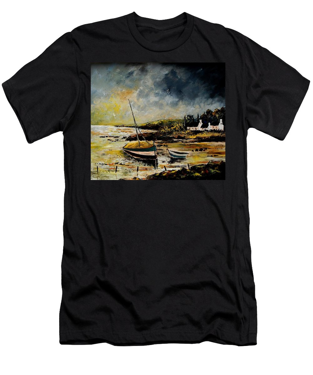Sea Men's T-Shirt (Athletic Fit) featuring the painting Seascape 452654 by Pol Ledent